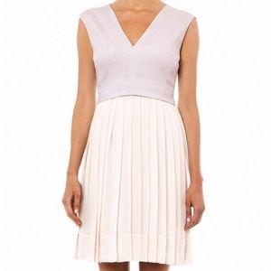 Rebecca Taylor Pink Pleated-skirt V Neck Dress